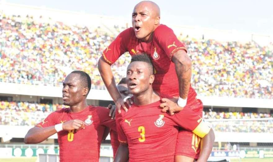 Gyan scores and Dede celebrates