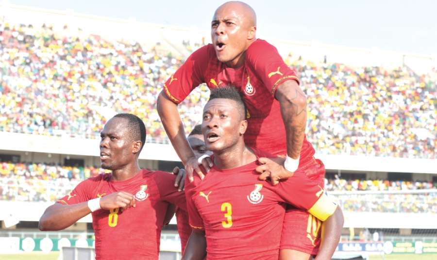Gyan scores and Dede celebrates