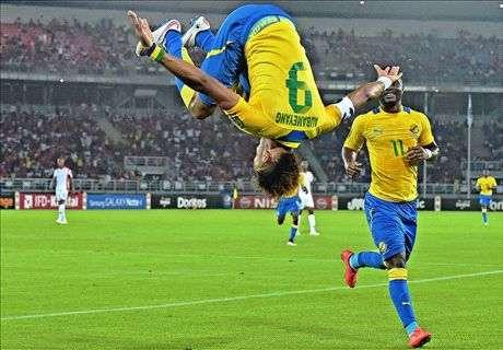 Aubamayang celebrates goal for Gabon