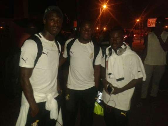 Edwin Gyimah, David Accam and Solomon Asante at the airport before teh Black Stars' departure