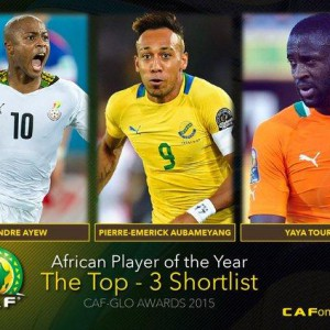 Andre Ayew of Ghana has made the 3-man shortlist for the Glo-CAF African footballer of the year 2015