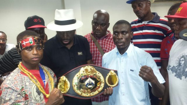 Isaac Dogboe and George Krampah at the weigh-in