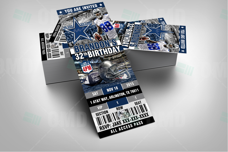 Dallas Cowboys Ticket Style Sports Party Invitations Sports Invites