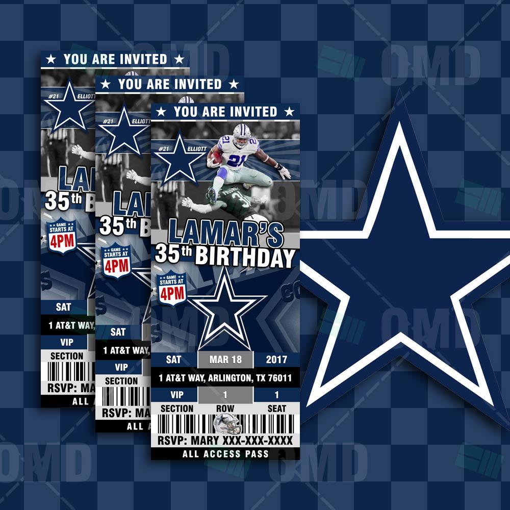 Dallas Cowboys Sports Party Invitations Ticket Style Sports Invites