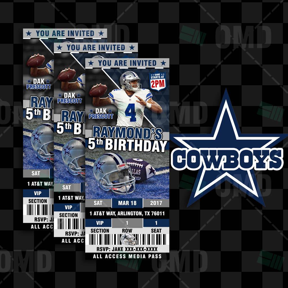 Dallas Cowboys Invites Ticket Style Sports Party Sports Invites