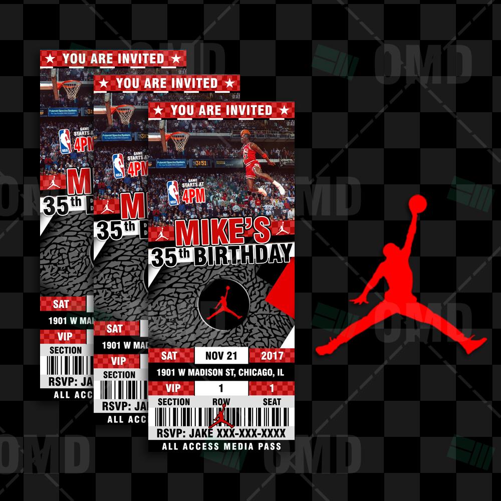 Air Jordan Sports Ticket Style Party Invites Sports Invites