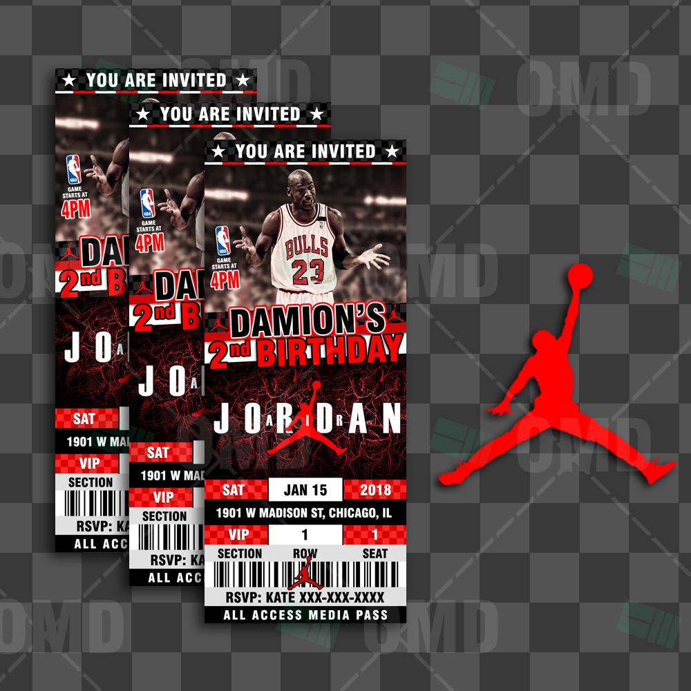 Air Jordan Birthday Ticket Style Sports Party Invites Sports Invites