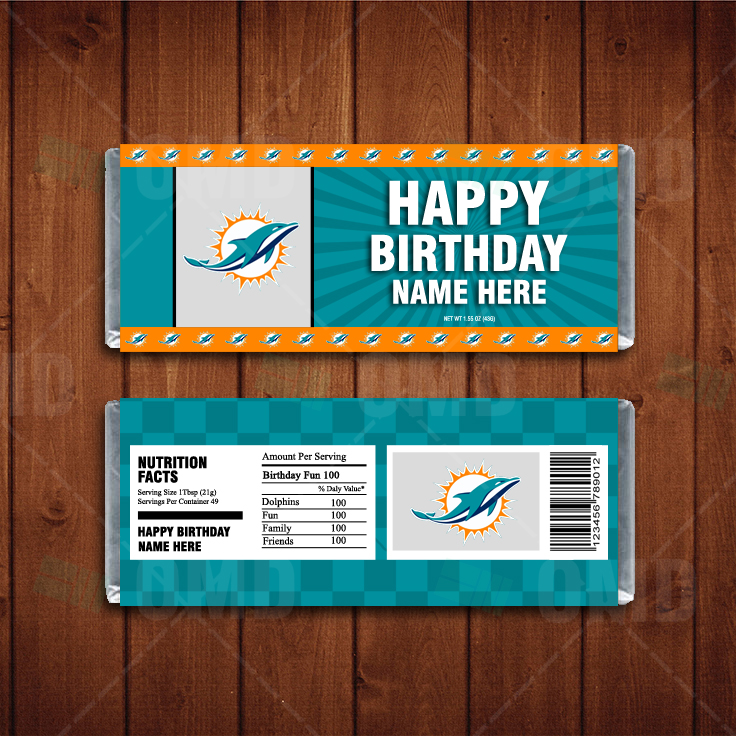 Miami Dolphins Custom Candy Bar Wrappers Sports Invites