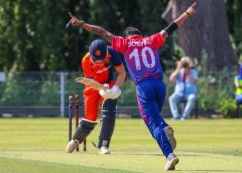 Sompal Kami celebration of 1st ODI wicket, Image © Twitter / Sompal Kami