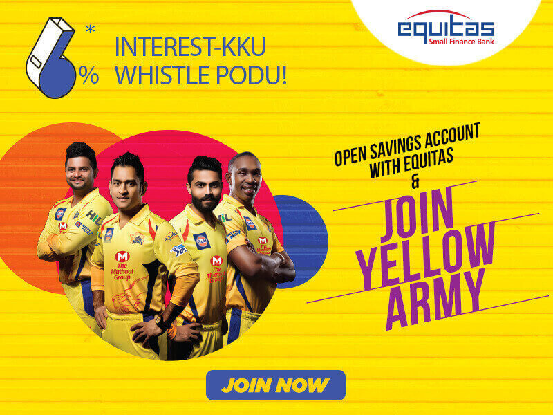 Chennai Super Kings Partners Sponsors Brands Companys Logos Jersey TVc Advert  Equitas small finance bank