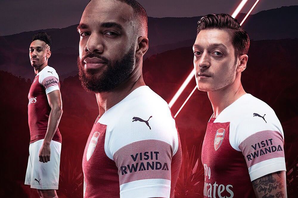 Arsenal Visit Rwanda Shirt Sleeve Sponsor Logo Brand Premier League Football Clubs