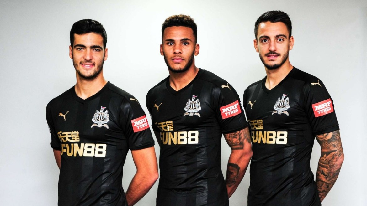Newcastle United MRF Tyres Shirt Sleeve Sponsor Logo Brand Premier League Football Clubs