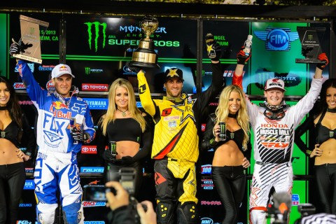 2013 AMA Supercross Anaheim I - Winner's Podium
