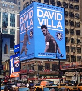 Cartel de David Villa en Manhattan