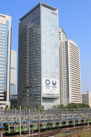 東京2020オリンピック・パラリンピック競技大会の装飾事業に協力 キヤノン S タワー外壁に過去最大サイズのエンブレムを装飾