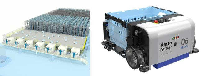 画像左:導入システムのイメージ、画像右:ALPHABOTシステム ロボット台車「BOT」イメージ