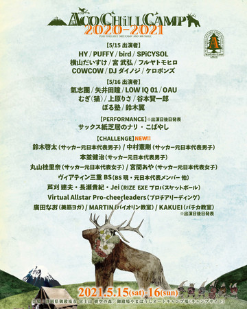 ACO CHiLL CAMP 2020-2021 出演アーティスト日割り発表!!中村憲剛、鈴木啓太、丸山桂里奈らアスリートの出演決定!