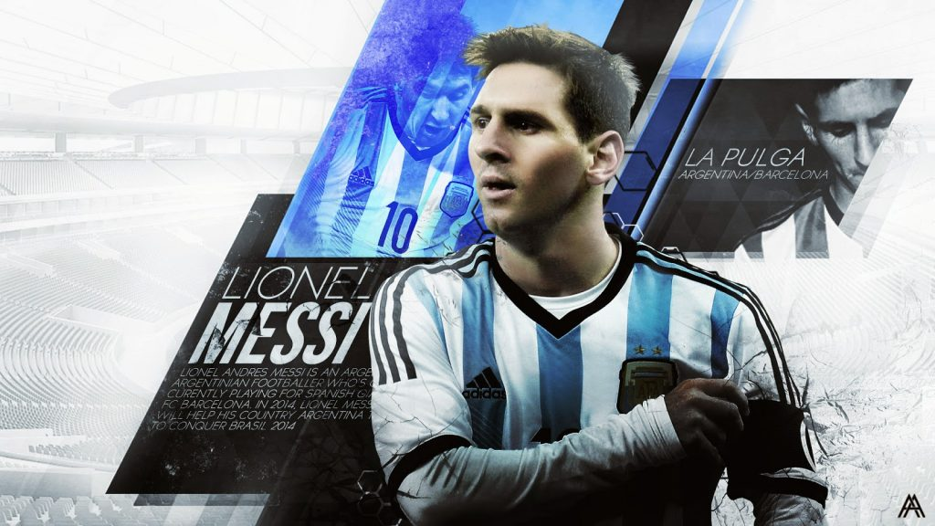 Lionel Messi Wallpaper with Argentine Jersey