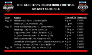 2016 GEICO ESPN HIGH SCHOOL FOOTBALL KICKOFF