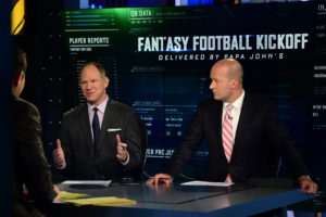 Bristol, CT - September 8, 2015 - Studio W:  Matthew Berry and Tim Hasselbeck on the set of Fantasy Football Kickoff Show (Photo by Joe Faraoni / ESPN Images)