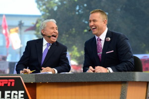Salt Lake City, UT - October 10, 2015 - The Unviversity of Utah: Lee Corso and Kirk Herbstreit on the set of College GameDay Built by the Home Depot (Photo by Phil Ellsworth / ESPN Images)