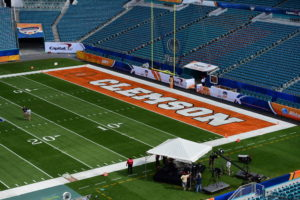 Miami Gardens, FL - December 31, 2015 - Sun Life Stadium: Clemson University Tigers end zone during the 2015 Capital One Orange Bowl game (Photo by Phil Ellsworth / ESPN Images)