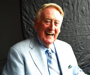 Los Angeles, CA - August 27, 2016 - Dodger Stadium: Broadcaster of the Los Angeles Dodgers, Vin Scully during a regular season game (Photo by Scott Clarke / ESPN Images)