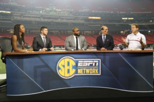 Atlanta, GA - December 31, 2016 - Georgia Dome: Maria Taylor, Tim Tebow, Marcus Spears, Paul Finebaum and Coach NIck Saban of the Univeristy of Alabama Crimson Tide on the set of SEC Now during the 2016 Chick-fil-A Peach Bowl (Photo by Allen Kee / ESPN Images)