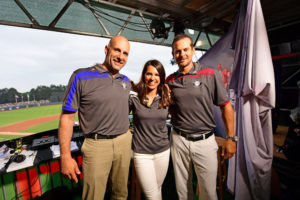 Fort Bragg, NC - July 3, 2016 - Fort Bragg: Dan Shulman, Jessica Mendoza and Aaron Boone during a regular season Sunday Night Baseball game (Photo by Phil Ellsworth / ESPN Images)