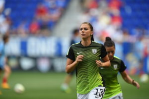 Harrison, N.J. - May 30, 2015 - Red Bull Arena:  Alex Morgan (13) of the United States Women's National Soccer Team during an international friendly match (Photo by Joe Faraoni / ESPN Images)