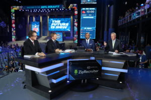 Philadelphia, PA - April 27, 2017 - Philadelphia Museum of Art: Mel Kiper Jr., Jon Gruden, Louis Riddick and Trey Wingo on the set of SportsCenter Special: Draft Countdown  during the 2017 NFL Draft (Photo by Allen Kee / ESPN Images)