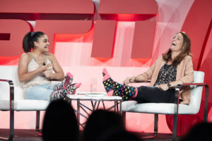 Chicago, IL - May 3, 2017 - Revel Fulton Market: Laurie Hernandez (l) and Julie Foudy during the espnW: Women + Sports Summit,.(Photo by Randy Klein / ESPN Images)
