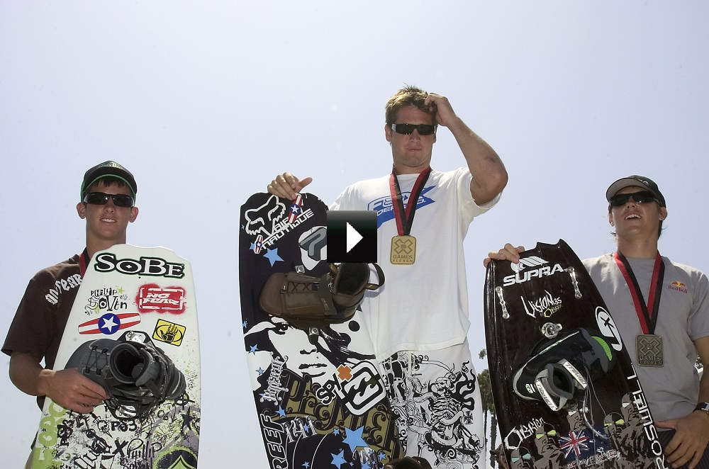 The inaugural MasterCraft Throwdown marks the return of wakeboarding to the X Games franchise, which was previously a fully-medaled event from 1996-2005. X Games Los Angeles 2005 featured (L to R): Phillip Soven- Silver Medalist; Danny Harf - Gold Medalist;.Josh Sanders - Bronze Medalist.(Photo by Dom Cooley / Shazamm / ESPN Images)