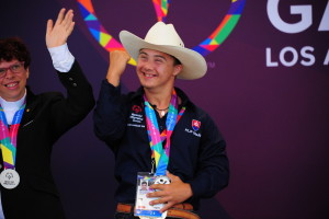 Burbank, CA - July 29, 2015 - Griffith Park: Filip Grano of Slovakia participating in equestrian during the 2015 Special Olympics World Summer Games (Photo by Kohjiro Kinno /  ESPN Images)