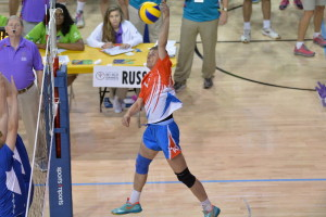 Los Angeles, CA - July 30, 2015 - Easton Stadium: Athletes from Russia participating in volleyball during the 2015 Special Olympics World Summer Games (Photo by Scott Clarke / ESPN Images)