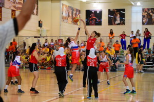 Los Angeles, CA - July 25, 2015 - Galen Center: The women's basketball teams of Costa Rica and Egypt competing in basketball during the 2015 Special Olympics World Summer Games (Photo by Kohjiro Kinno / ESPN Images)