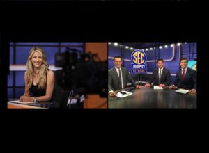 Charlotte, NC - August 17, 2016 - Frenette Building: Laura Rutledge on the set of SEC Nation (Photo by Travis Bell / ESPN Images)