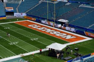 Miami Gardens, FL - December 31, 2015 - Sun Life Stadium: Clemson University Tigers end zone during the 2015 Capital One Orange Bowl game (Photo by Phil Ellsworth / ESPN Images)