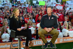 Salt Lake City, UT - October 10, 2015 - The Unviversity of Utah: Samantha Ponder and Coach Kyle Whittingham on the set of College GameDay Built by the Home Depot (Photo by Phil Ellsworth / ESPN Images)