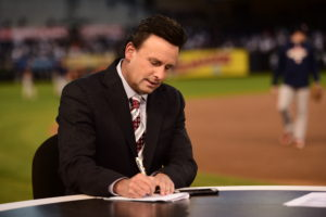 Bronx, NY - October 6, 2015 - Yankee Stadium: Karl Ravech on the set of Baseball Tonight prior to the 2015 American League Wild Card Game (Photo by Ben Solomon / ESPN Images)