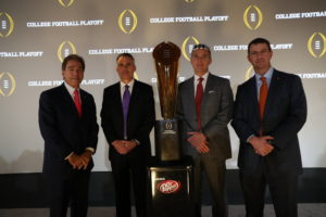 Atlanta, GA - December 8, 2016 - CFB Hall of Fame Theater: Coach Nick Saban of the University of Alabama Crimson Tide, Coach Chris Petersen of the University of Washington Huskies, Coach Nick Saban of the University of Alabama Crimson Tide and Coach Dabo Swinney of the Clemson University Tigers during the College Football Playoff Coaches Press Conference (Photo by Allen Kee / ESPN Images)