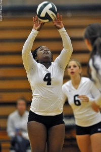 Jayln Anderson sets against NW Indian College on Tuesday.