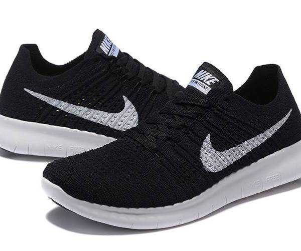 new product 5ced9 81493 NIKE FREE FLYKNIT 5.0 BLACK WHITE RUNNING SHOES