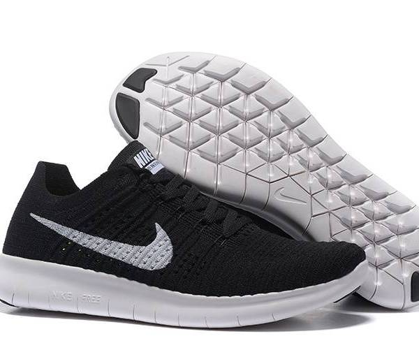 new product 26311 4f5be NIKE FREE FLYKNIT 5.0 BLACK WHITE RUNNING SHOES
