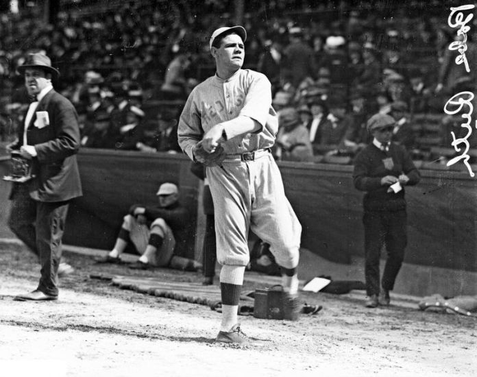 Red Sox pitcher Babe Ruth at Comiskey Park in 1918. (Chicago Daily News / Chicago History Museum)