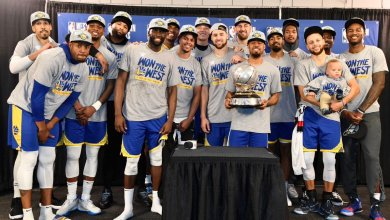 Photo of Warriors first team to five straight NBA Finals since 1966 Celtics