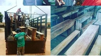 Photo of Ahmed Musa donates desk to primary school in Jos