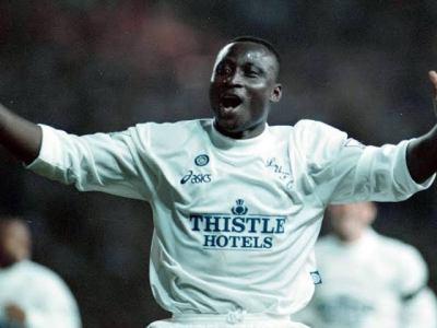 Tony Yeboah after scoring a goal for Leeds United