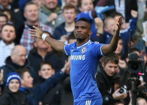 Samuel Eto'o celebrating one of his goals v United