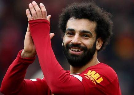 Mo Salah after scoring a goal for Liverpool